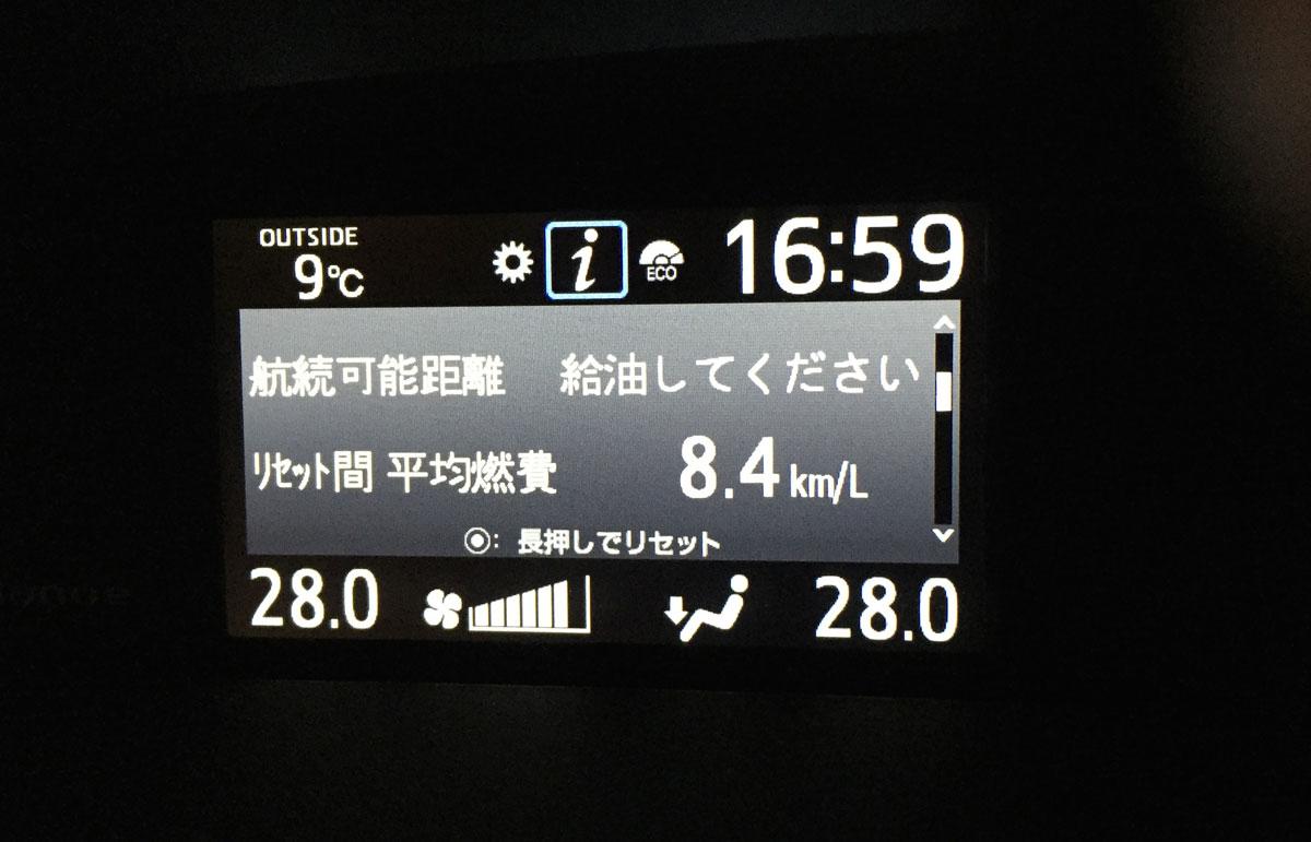ヴォクシー80 実燃費 計器計測